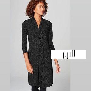 J. Jill Black White Polka Dot Long Sleeved Dress